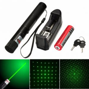 532nm 5mw Green Adjustable Laser Pointer With Star Cap+Battery+Charger