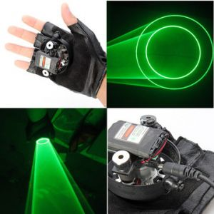 Gloves Double Green Swirl Laser Gloves 523nm Built-in Battery 1mw/5mw