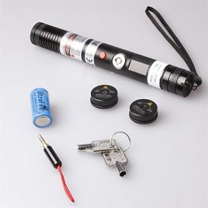 LT-S003 Focus Adjustable Focusable Burning Paper Cutting Red Laser Pointer(2mw,650nm,1 x 18650,Black)