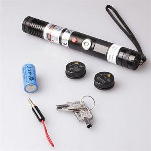 LT-S003 Focus Adjustable Focusable Burning Paper Cutting Red Laser Pointer(2mw,650nm,1 x 18650,Black)