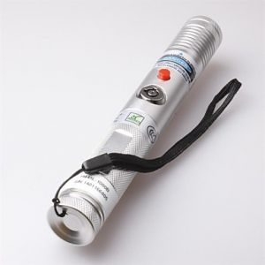 LT-Focus Adjustable Burning Paper Cutting Blue Laser Pointer(3mw,473nm,1 x 18650,Silver)