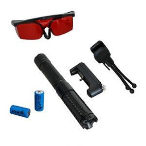 LT-0887 Eye-Protect Green Laser Pointer (3MW, 532nm, 2x16340, Assorted Colors)