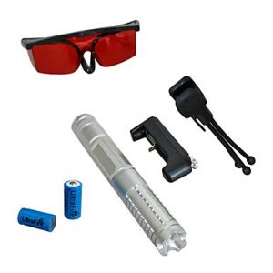 LT-0888 Eye-Protect Blue Laser Pointer (2MW, 450nm, 2x16340, Assorted Colors)