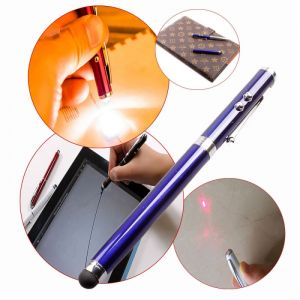 DW 5mW 650nm 4 in 1 Red Laser Pointer Pen + Stylus Pen + Flashlight + Ball-point Pen Blue