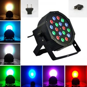 18W LED RGB Slim Par Light For Stage Light Party Black (US/EU Standard Plug)