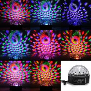 20W 6LEDs RGB Crystal Ball Shaped Stage Light Black & Transparent Cover (US/EU Standard Plug)