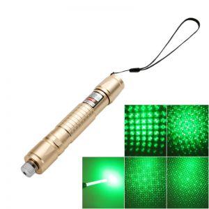 532nm Green Light Single-point Griding Texture Aluminum Alloy Shell Laser Pointer Golden