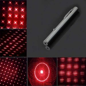 5mW 650nm New Steel Casing Kaleidoscope Starry Sky Style Red Light Waterproof Laser Pointer Silver