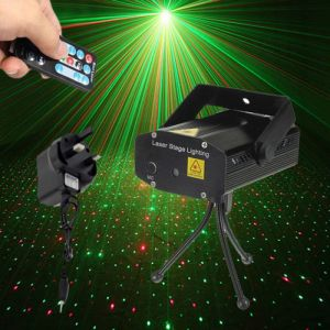 Fantastic Mini Starry Sky Style Green & Red Light LED Laser Stage Light with Remote Controller (UK Standard) Black