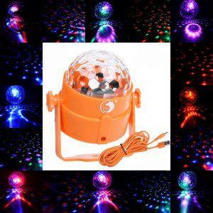 U`King ZQ-B9 3-LED 3-in-1 RGB Light Automatic Sound Control LED Stage Light Orange