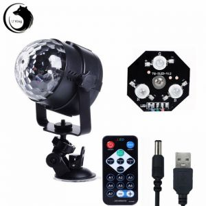 U`King ZQ-B15 6W 3-in-1 RGB Light Automatic Sound Remote Control LED Stage Light with Sucker Black