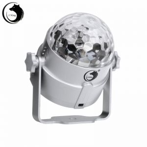 U`King ZQ-B16 4-LED 8W 4-in-1 RGBP Light Automatic Sound Control LED Stage Light Silver