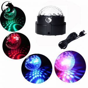 U`King ZQ-B17 3-LED 8W 3-in-1 RGB Light Automatic Sound Control LED Stage Light Black