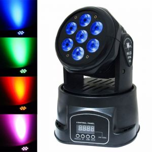 100W 7-LED RGBW Auto/Sound Control DMX512 Rotary Stage Lighting EU Plug Black
