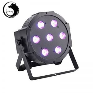U`King ZQ-B56 80W 7-LED 3-in-1 RGB Light Auto Strobe Sound Control DMX-512 Stage Light Set EU Plug Black
