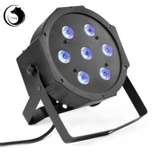 U`King ZQ-B56A 100W 7-LED 3-in-1 RGB Light Auto Strobe Sound Control DMX-512 Stage Light Kit UK Plug Black