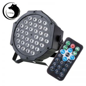 U`King ZQ-B53B 80W 36-LED 3-in-1 RGB Light Auto Strobe Sound Control DMX-512 Remote Control Stage Light Kit UK Plug Black