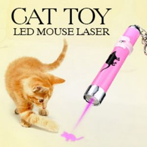Creative Funny Pet Cat Toys LED Laser Pointer Light Pen with Animation Mouse Pattern Random Color