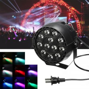 12W 12 LED RGB Stage Projector Light Bar Club DJ Disco Par Lamp US Plug Black